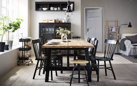 pictures of dining rooms. The Acacia SKOGSTA Dining Table Is Positioned In Centre Of A Beige And Black Pictures Rooms