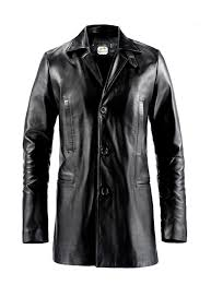 sputer max payne mark wahlberg mens black leather trench coat jacket