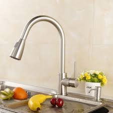 beatifaucet modern stainless steel single handle pull down spray kitchen sink faucet brushed nickel finished