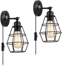 wire cage wall sconce koonting 2 pack