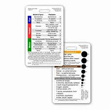 Gcs Scale Chart Glasgow Coma Scale Gcs Vertical Reference Badge Id Card 1 Card