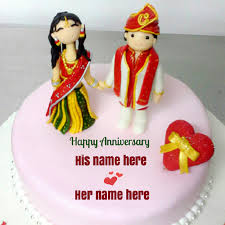 Indian Traditional Wedding Anniversary Cake With Name