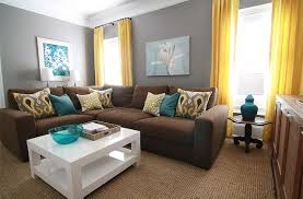 color schemes for brown furniture. Brown, Gray, Teal And Yellow Living Room With Sectional Sofa White Coffee Table. Good Colour Ideas For Brown Sofa, But Not The Curtains. Color Schemes Furniture