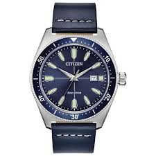 men s citizen eco drive brycen blue leather strap watch aw1591 01l reeds jewelers