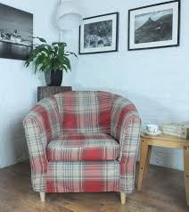 ikea tullsta tub chair cover in superb next stirling heavy tartan woven fabric xmas delivery