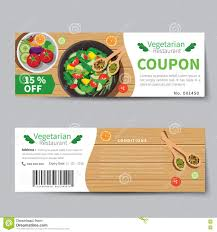 Food Voucher Template Vegetarian Food Coupon Discount Template Flat Design Stock Vector 3