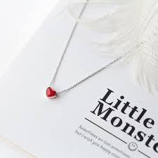 cute red heart necklace silver heart charm chain necklace red heart crystal pendant