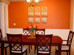 Dining Room Paint Ideas With Accent Wall Warm Orange Bright Inside Design