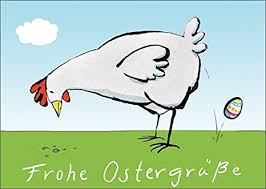 Ob frohe ostern wünschen, ostergedichte oder lustige ostergrüße per whatsapp: Verschicken Sie Mit Diesem Lustigen Huhn Frohe Ostergrusse Zum Osterfest Amazon De Kuche Haushalt