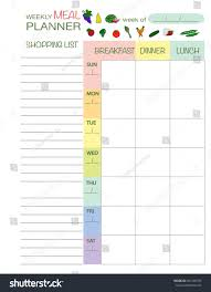 weekly menue planner weekly menu planner template meal schedule stock vector 504166555