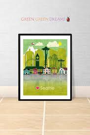 seattle wall art print poster seattle skyline by greengreendreams on seattle wall art prints with seattle wall art print poster seattle skyline by greengreendreams