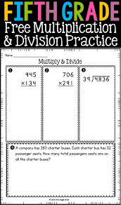 Free Fifth Grade Multiplication & Division Printable- can be used ...