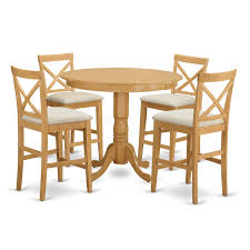 Shop Off White Rubberwood 5 Piece Counter Height Dining Table Set