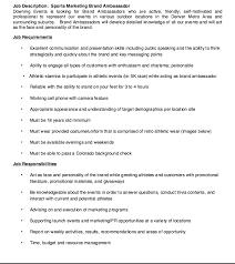 Sports Marketing Brand Ambassador Job Description Resume Http