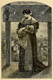 the new puritan shame culture engraving depicting hester prynne public