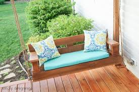 this porch swing has a little more modern flair to it than the one previously shown but it also looks really simple to build the tutorial seems rather