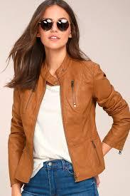 popular lw42969 chic tan jacket tan s tcec women moto jacket vegan leather jacket