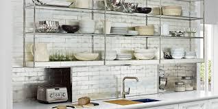Elegant Shelf Ideas for large kitchen with ceramic tile backsplash