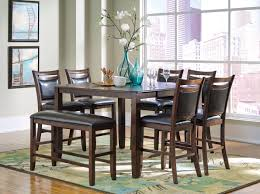 Pub Height Kitchen Table Sets Coaster 8 Piece Dark Brown Leaf Counter Height Table Set With Bench