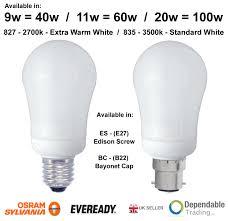 Es E27 Energy Saving Light Bulbs Details About Branded 9w 40w 11w 60w 20w 100w Bc B22 Es E27 Energy Saving Cfl Gls Bulb