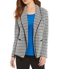 kasper jackets womens diamond knit jacket ivory black