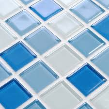 Blue And White Decorative Tiles Wholesale Glass Mosaic for Swimming Pool Tile Blue White Mix 49