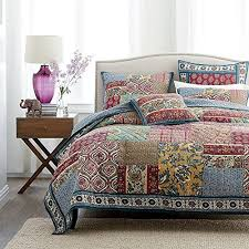 DaDa Bedding Collection Reversible Bohemian Real Patchwork Cotton ... & DaDa Bedding Collection Reversible Bohemian Real Patchwork Cotton Dark  Elegance Floral Quilt Bedspread Set, Burgundy Adamdwight.com