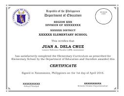 Sample Of School Graduation Certificate Copy D On Sample Of School