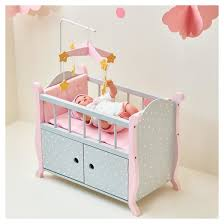 pink baby furniture. oliviau0027s little world baby doll furniture nursery crib bed with storage gray polka dots pink