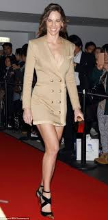 Hillary Swank Hilary Swank Shows Off Her Long Legs And A Hint Of Cleavage In