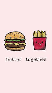 cute animated food wallpaper. Interesting Food Better Together Cheeseburger And Fries With Cute Animated Food Wallpaper P