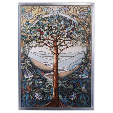 com stained glass panel the tree of life stained glass window hangings art glass window treatments home kitchen