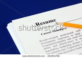 Stack of resumes with pencil on a blue background.