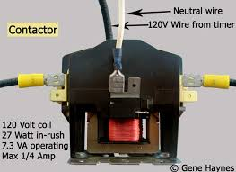contactors 120 Volt Contactor Wiring wires connect to contactor using female terminals hot and neutral can connect to either side 120 Volt Contactor Schematic