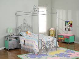 beautiful princess canopy bed. Pale Grey Princess Canopy Twin Bed With Scrolled Artwork And Striped Colorful Bedding Set Plus Floral Carpet On Brown Wooden Floor Beautiful