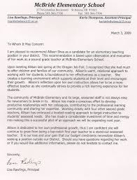 Teacher Recommendation Resumes Resume And Recommendations Allison Shea With Recommendation Letter