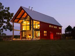 barn house plans. Pole Barn House Plans Big Metal Roof Red Wall Small Windows Grass Large Glass Door M