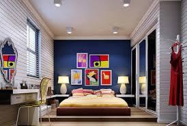 Dark blue background wall for modern bedroom Interior Design