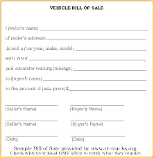 Car Bill Of Sale Receipt Template Templates For Sample