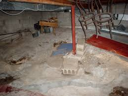 a basement with a dirt floor that is experiencing moisture issues