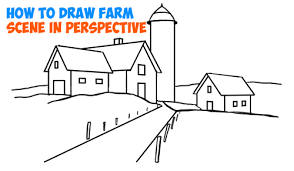 how to draw farm scene fall spring scene in three point perspective in easy step by step tutorial for beginners