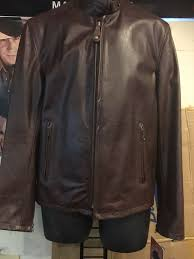 details about schott nyc men s brown 654 cowhide casual racer slim fit leather jacket