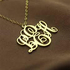personalised vine font initial monogram necklace 18ct gold plated the name jewellery
