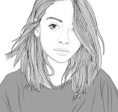 красивые черно белые рисунки девушек для срисовки лицо силуэт и