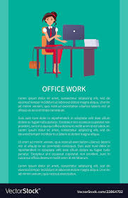 Office Work Banner Text Sample Woman At Workplace Vector Image