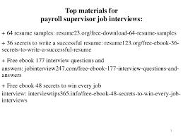 Payroll Manager Resume Sample Payroll Supervisor Resume Sample Pdf Ebook Free Download