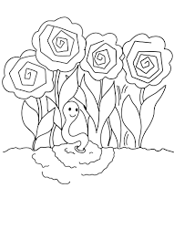 Small Picture Free Printable Coloring Page Earthworm in the Peonies
