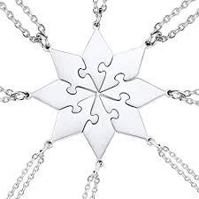 heart polygon jigsaw pendant necklace