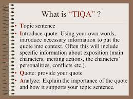how to write an organized essay using ldquo tiqa rdquo ppt video online 2 what