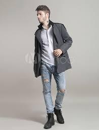grey peacoat men 2018 trench coat turndown collar long sleeve double ted slim fit winter coat